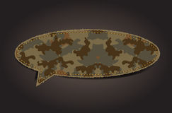 Vector speech bubble of camouflage fabric pattern Royalty Free Stock Images