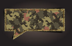 Vector speech bubble of camouflage fabric pattern Stock Photos