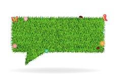 Vector speech bubble green grass texture backgroun Royalty Free Stock Images