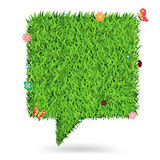 Vector speech bubble green grass texture backgroun Stock Photography