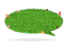 Vector speech bubble green grass texture backgroun Royalty Free Stock Image