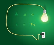 Vector speech bubble with light bulb modern design Royalty Free Stock Photography