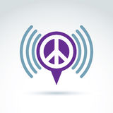 Vector speech bubble with peace symbol from 60th. Podcast sign o. N antiwar and love theme on white background. Mass media icon stock illustration