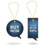 Vector speech bubble price tags of denim background Stock Photography