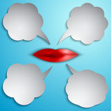 Vector speech bubble set with lips Royalty Free Stock Image