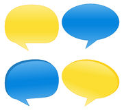 Vector Speech Bubbles. Blue and Yellow Speech Bubbles Royalty Free Stock Images
