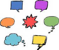 Vector Speech Bubbles. Sketched in vetor format. They can be used for cartoons, web design and graphics, for ads and flyers. In vector format you can use both Stock Image