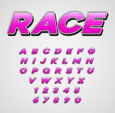 Vector Speed Racing Sport Italic Font with Letters and Numbers Stock Photo