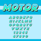 Vector Speed Racing Sport Italic Font with Letters and Numbers Royalty Free Stock Photography