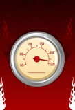 Vector speedometer with fires. On red background Royalty Free Stock Photo