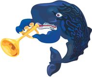 Vector sperm-whale musician Royalty Free Stock Image