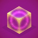 Vector sphere in cube isometric hologram. Abstract geometric fla vector illustration