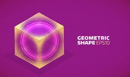Vector sphere in cube isometric hologram. Abstract geometric flat shape Royalty Free Stock Photography
