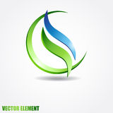Vector sphere with two waves inside. Eco . Stock Images