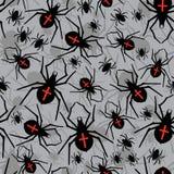 Vector spiders seamless pattern. Vector illustration. Stock Photo