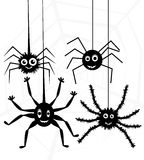 Vector spiders and web. Vector cartoon of spiders and web Stock Photos