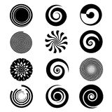 Vector spiral elements. Spiral swirl icon circular, twirl spiral circle, twist curve spiral rotation illustration Stock Photography