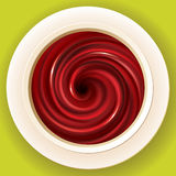 Vector spiral swirling fluid deep red color in white cup Royalty Free Stock Photos