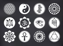 Vector Spiritual Icons Set on Blackboard Stock Photo