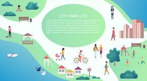 Vector Spitzenkartenansichtkonzept von den Leuten am allgemeinen Stadtpark gehend und durchführend Tätigkeiten der Freizeit im Fr Lizenzfreie Stockbilder
