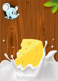 Vector splash of milk with cheese, mouse peeking Stock Photo