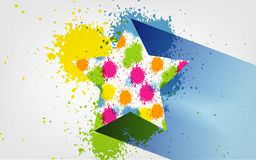 Vector Splatter colorful star symbol icon, textured, hand painted brush strokes, spectrum, dab, daub, artistic grunge banner. Isolated on transparent background royalty free illustration