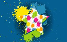 Vector Splatter colorful star symbol icon, textured, hand painted brush strokes, spectrum, dab, daub, artistic grunge banner. Isolated on blue background royalty free illustration