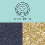 Vector sport badge and seamless pattern Stock Images