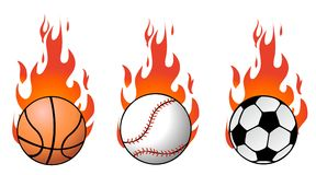 Vector sport balls on flames Stock Images