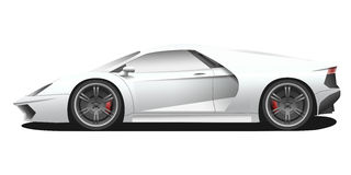 Vector sport car illustration. Vector sport car. Sport automobile flat icon. White, blue modern auto. Speed symbol. Flat design. Illustration  on white Royalty Free Stock Photos