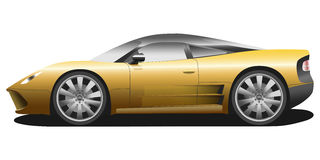 Vector sport car illustration. Vector sport car. Sport automobile flat icon. Yellow modern auto. Speed symbol. Flat design. Illustration isolated on white Royalty Free Stock Photo