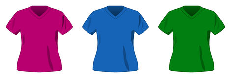 Vector sport color shirt collection. Vector sport three shirt collection Stock Images