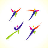 Vector sport colorful stick figure Royalty Free Stock Images