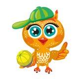 Vector sport cute owl. Cartoon character. Stock Photo