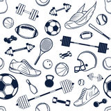 Vector Sport Equipment Black and White Background, Seamless, Pattern, Icons Royalty Free Stock Photography