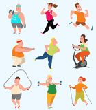 Vector sport fatty people fitness gym color flat icon workout set. Fat people fitness gym fat exercise health workout. Healthy young male and female fit obese Royalty Free Stock Photography