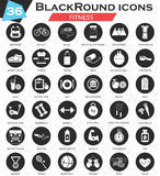 Vector sport Fitness circle white black icon set. Ultra modern icon design for web. Royalty Free Stock Photo