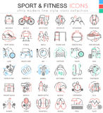 Vector Sport and Fitness ultra modern color outline line icons for apps and web design. Stock Photos