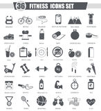 Vector sport healthy fitness black icon set. Royalty Free Stock Images