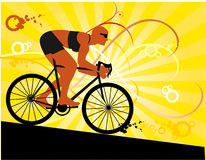 Vector sport illustration. Vector composition mountain biker silhouette Royalty Free Stock Photography