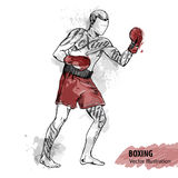 Vector sport illustration. Watercolor silhouette of the boxing athlete with thematic words. Hand sketch of a boxing man. Vector sport illustration. Watercolor Royalty Free Stock Image