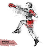 Vector sport illustration. Watercolor silhouette of the boxing athlete with thematic words. Hand sketch of a boxing women. Vector sport illustration. Watercolor Stock Image