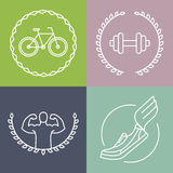 Vector sport logos in outline style Stock Photo