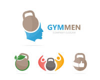 Vector of sport and man logo combination. Gym and face symbol or icon. Unique fitness and workout logotype design. Vector logo or icon design element for Stock Photos