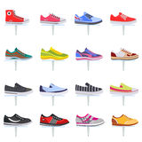 Vector sport shoes sneakers collection set. Elegant color flat icon set. Royalty Free Stock Images