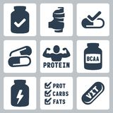 Vector sport supplements icons set Royalty Free Stock Images