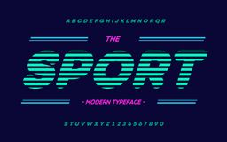 Vector sport typeface trend typography. Font modern colorful style for t shirt. Animation, video, poster, printing, decoration, book. Cool alphabet. 10 eps vector illustration