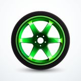 Vector sport wheel with green rim. Car alloy wheel isolated. Vector illustration eps 10 vector illustration