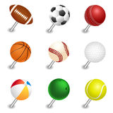 Vector sports ball pointers, push pin set Stock Photo