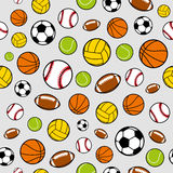 Vector Sports Balls Seamless Background, Sports Equipment, Pattern Royalty Free Stock Image